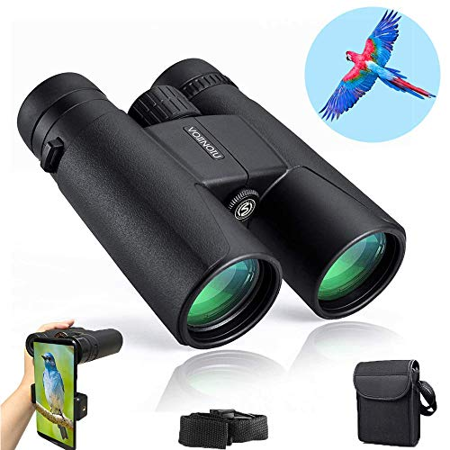 Binoculars for Adults Compact,12x42 HD BAK4 Roof Waterproof Binocular with Clear Weak Light Night Vision,Folding Binoculars for Birds Watching,Concerts,Hunting,Hiking,Travel with Strap Carrying Bag