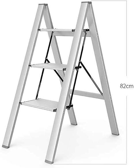 Rziioo 2 en 1 de Aluminio liviano Escalera de 3 peldaños Escalera de peldaño Invisible Elegante para fotografía, hogar y Pintura,Plata: Amazon.es: Deportes y aire libre