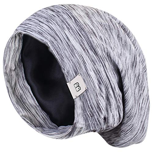 - YANIBEST Extra Large Adjustable Satin Lined Slouchy Beanie Sleep Cap for Dry Hair and Curly Hair Stay on All Night 2018 (One Size, Grey)