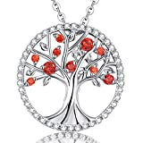 Mothers Day Gift Jewelry The Tree of Life Love Created Garnet Necklace Sterling Silver