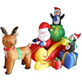 6 Foot Long Christmas Inflatable Santa on Sleigh with Reindeer and Penguins Yard Decoration