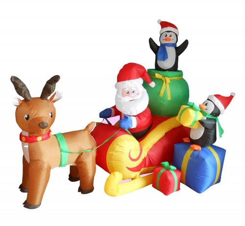6 Foot Long Christmas Inflatable Santa on Sleigh with Reindeer and Penguins Yard Decoration (Decoration Sleigh Christmas)