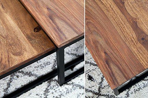 Couchtisch BEPPO V2 2er Set Wohnzimmertisch Massivholz Metall Sheesham natur