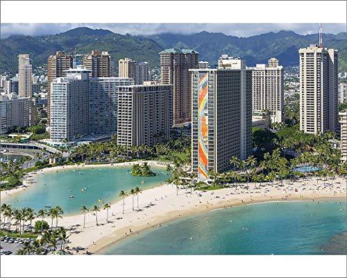 Media Storehouse 10x8 Print of Hilton Hawaiian Village, Rainbow Tower, Waikiki, Beach, Oahu, Hawaii ()