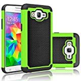 Samsung Galaxy Grand Prime SM-G530H G530W Rugged Impact Heavy Duty Dual Layer Shock Proof Case Cover Skin - Green