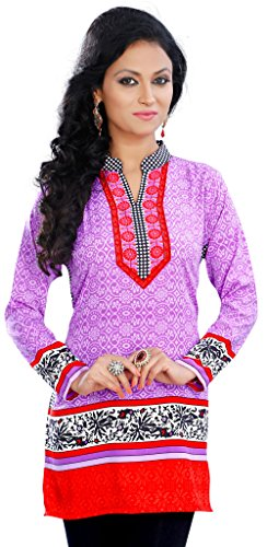 Indian Tunics Kurti Top Long Blouse Womens India Apparel (Lavender , - Women And India