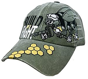 US Navy Seabees We Build Fight Embroidered Hat - Green Adjustable Buckle Closure Cap