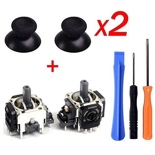 Yoogeer 2Pcs Black 3D Controller Joystick Axis Analog Sensor Module & ThumbStick for Xbox One with T8H T6 Screwdriver - Sensor Controller