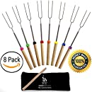 Extending Marshmallow Roasting Sticks-Set of 8 -32 Inch.Telescoping STAINLESS STEEL Smores Skewers;Hot Dog Forks.Campfire,fire pit,Camping. SAFE FOR KIDS. Storage Bag, S'mores eBook, FREE ABC STICKERS