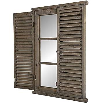 Chemindecampagne Grand Miroir Fenêtre à Volet En Bois Amazonfr