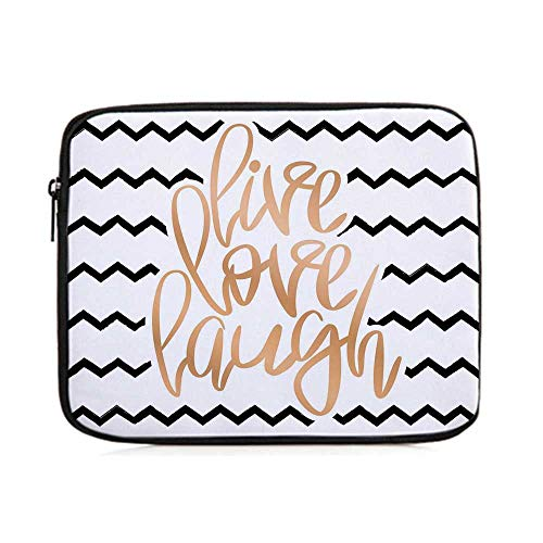 - Live Laugh Love Decor,Motivational Calligraphic Art with Zigzags Chevron Stripes,One Size