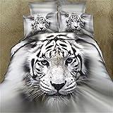 Newrara 3d animal bedding set tiger/ black leopard/lion/swan/dolphin/horse/Wolf duvet cover set for boys 100% cotton queen (white)