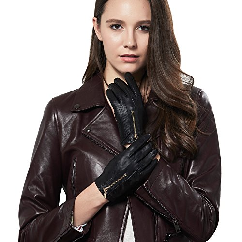 GSG Womens Trendy Italian Nappa Leather Touchscreen Driving Gloves Ladies Perforated Gloves Winter Zipper 7 -