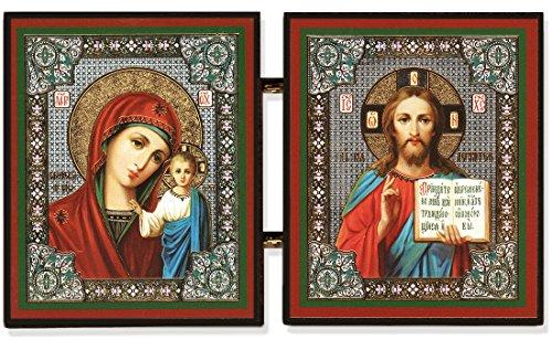 Kazan Icon (Christ the Teacher and Virgin of Kazan Russian Orthodox Icon Diptych 5 1/4 Inch)