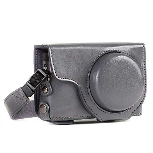 MegaGear MG1261 Ever Ready Leather Camera Case Compatible with Panasonic Lumix DC-ZS80, DC-ZS70 - Gray