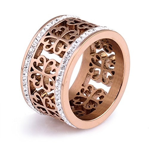 JAJAFOOK Womens Retro Hollow Rose Gold Stainless Steel Ring Rhinestone Ring for Gift (Size 6-10)