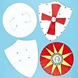 Boucliers en carton vierges que les enfants pourront colorier et décorer (Lot de 4)