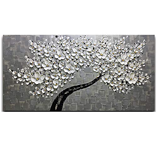 Desihum - Hand Painted White Flower Oil Paintings Silver Floral Modern Canvas Wall Art Abstract Tree Art Stretched and Framed Ready to Hang for Living Room Bedroom - Fabric Silver Painting