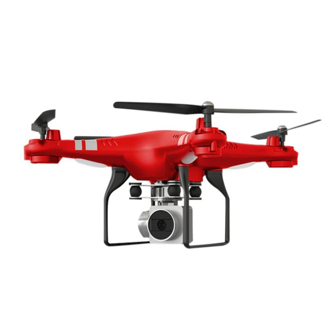 Eletty Flashing Remote Wide Angle Lens HD Camera Quadcopter RC Drone WiFi FPV Live Helicopter Hover (red)