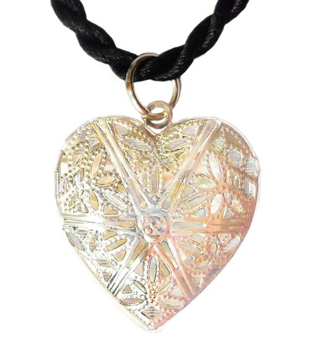 Open Filigree Heart Locket - 7