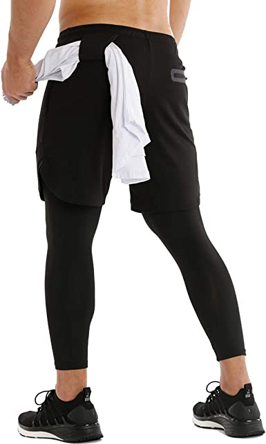 Mens With Pocket Shorts Elastic Waist Compression Trousers Workout Sport Pants