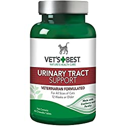 Vet's Best Feline Urinary Tract Support Cat Supplements, 60 Chewable Tablets