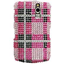 Blackberry Curve 8330 8300 8320 8350 Full Diamond Pink Black Check Snap On Case