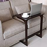 HOMFA Bamboo Sofa Side Table Console Snack End Table Simple Design Multipurpose Laptop Desk for Bed Breakfast Coffee Retro Color