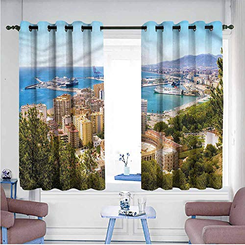 Landscape Curtains Extra Wide Patio Door Curtain Aerial View of Malaga Darkening Thermal Insulated Blackout,W63x72L (Malaga Los Patios)