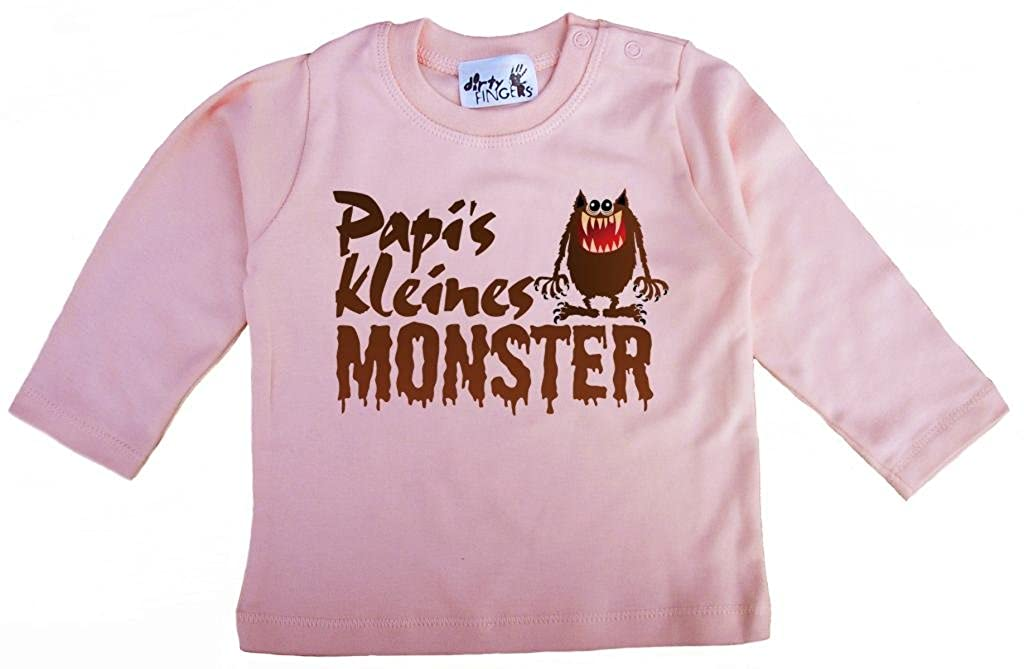 M/ädchen T-Shirt lang/ärmlig Ich bin Papis kleine Prinzessin Dirty Fingers