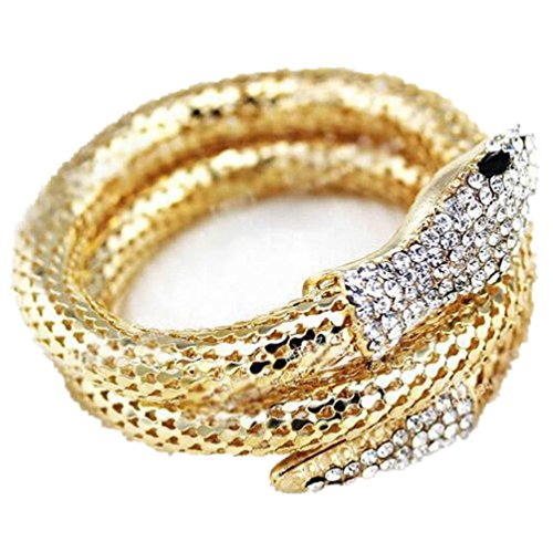 Willsa Retro Vintage Rhinestone Stretchy Curved Snake Bracelet Bangle (Gold)