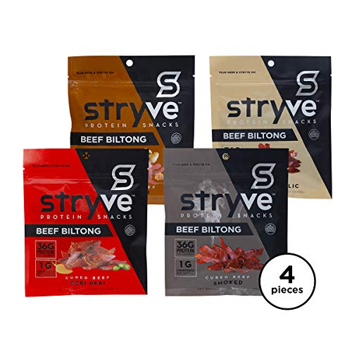 (Stryve Protein Variety Snack Pack | Air Dried 100% Beef Biltong | Lighter than Jerky | No Carb, No Sugar | 16g Protein | 4 Pack of 2.25oz)