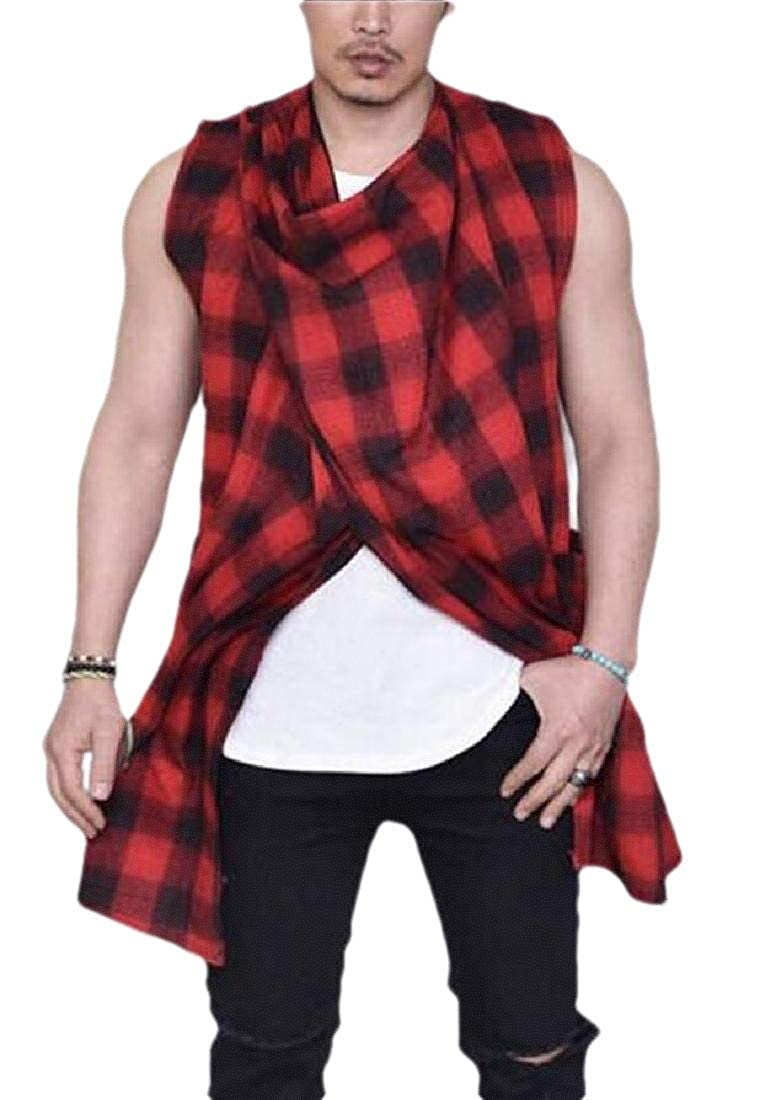 security Men Summer Loose Plaid Flannel Sleeveless Checkered Top Shirt Vest