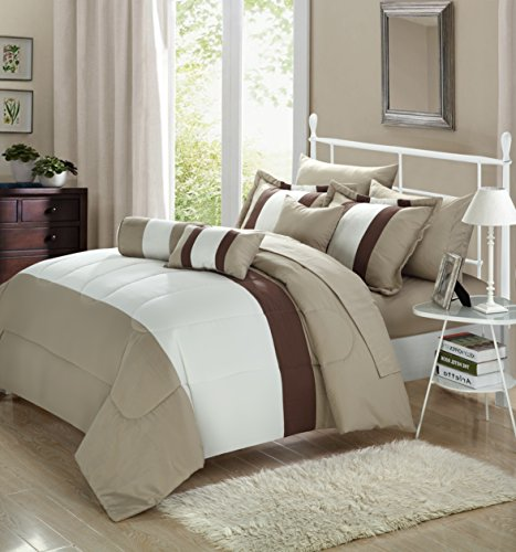 Chic Home Serenity 10 Piece Comforter Set Complete Bed in a Bag Stripe Pattern Bedding with Sheet Set And Decorative Pillows Shams Included, King Off-White (Bedding Sets Clearance)