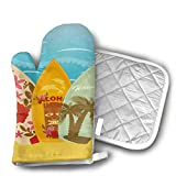 Hawaiian Beach Surfboards On Sand Shaped Oven Mitts and Pot Holders Set of 2 for Kitchen Set with Cotton Non-Slip Grip, Heat Resistant, Oven Gloves for BBQ Cooking Baking, Grilling, Machine Washable