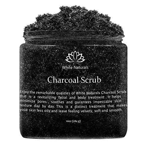 Activated Charcoal Scrub By White Naturals:Face & Body scrub, Reduces Wrinkles,Blackheads & Acne Scars,Natural Skin Care, Facial Cleanser, Pure Vegan Scrub Wash For Skin Exfoliation And Detox 10 oz