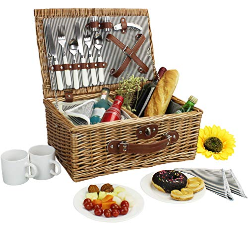 Picnic Basket for 2, Willow Hamper Set with Insulated Compartment, Handmade Large Wicker Picnic Basket Set with Utensils Cutlery - Perfect for Picnicking, Camping, or any Other Outdoor - 2 Two Basket