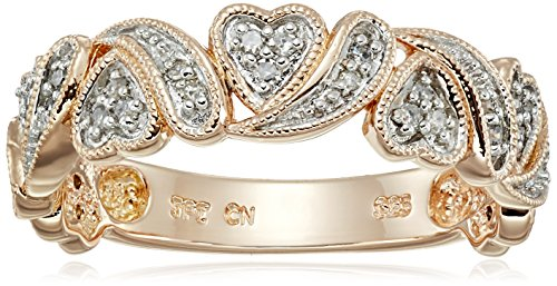 Rose Gold Plated Sterling Silver Multi Hearts Diamond Band (1/10 cttw, I-J Color, I2-I3 Clarity), Size 7 -