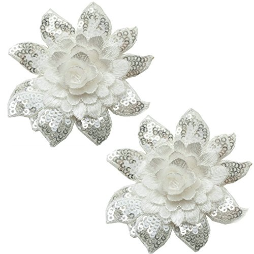 (Exquisite 3D Flower Sequins Lace Applique Charming Gules/Pure White/Elegant Grey Color Embroidered Fabric Trim DIY Sewing Craft 2 Pieces )