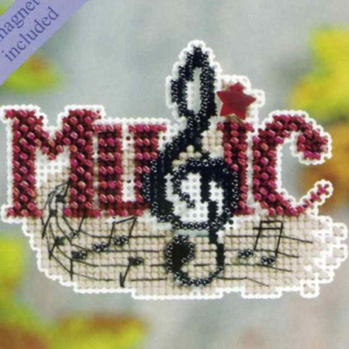 Treasure Mill Glass Hill (Music Beaded Counted Cross Stitch Ornament Kit Mill Hill 2011 Autumn Harvest MH18-1204)