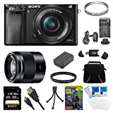 Sony Alpha a6000 24.3MP Interchangeable Lens Camera Body only + 16-70mm Mid-Range Zoom Lens + Accessory Bundle (Deluxe 2 Lens Kit 16-50mm & 50mm)