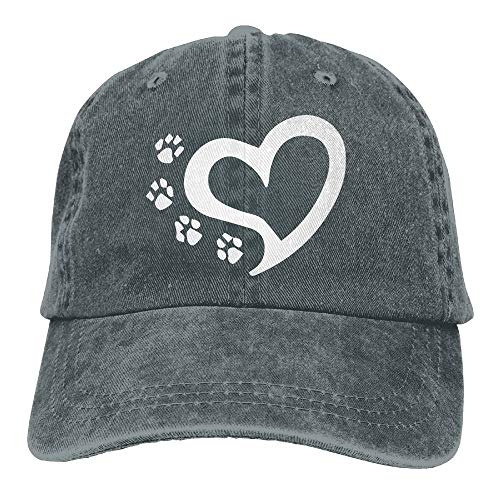 Unisex Baseball Cap Yarn-Dyed Denim Hat Cat Dog Paw Prints Heart Adjustable Snapback Sunbonnet