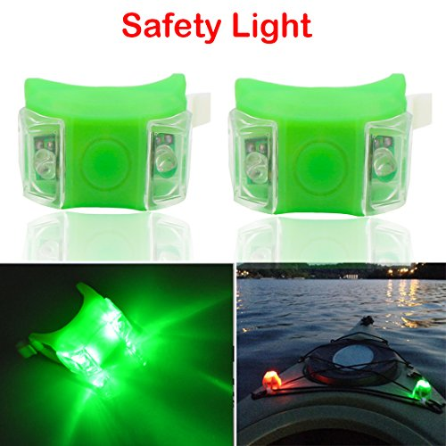 Botepon 2Pcs Boat Kayak Navigaton Light Safety Light Boating Light with 3 Modes for Riding Sailing Runing Climbing Green