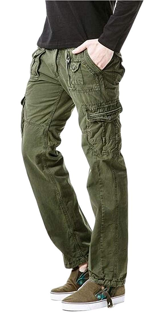Domple Mens Solid Multi Pockets Casual Cotton Outdoor Utility Cargo Jogger Pants