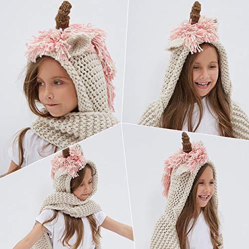 Tacobear Crochet Cartoon Unicorn Winter Hat With Scarf Pocket Hooded