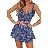 CSSD Women Dress Vintage Floral Dress, Summer Holiday Floral Summer Dresses (M, Blue)