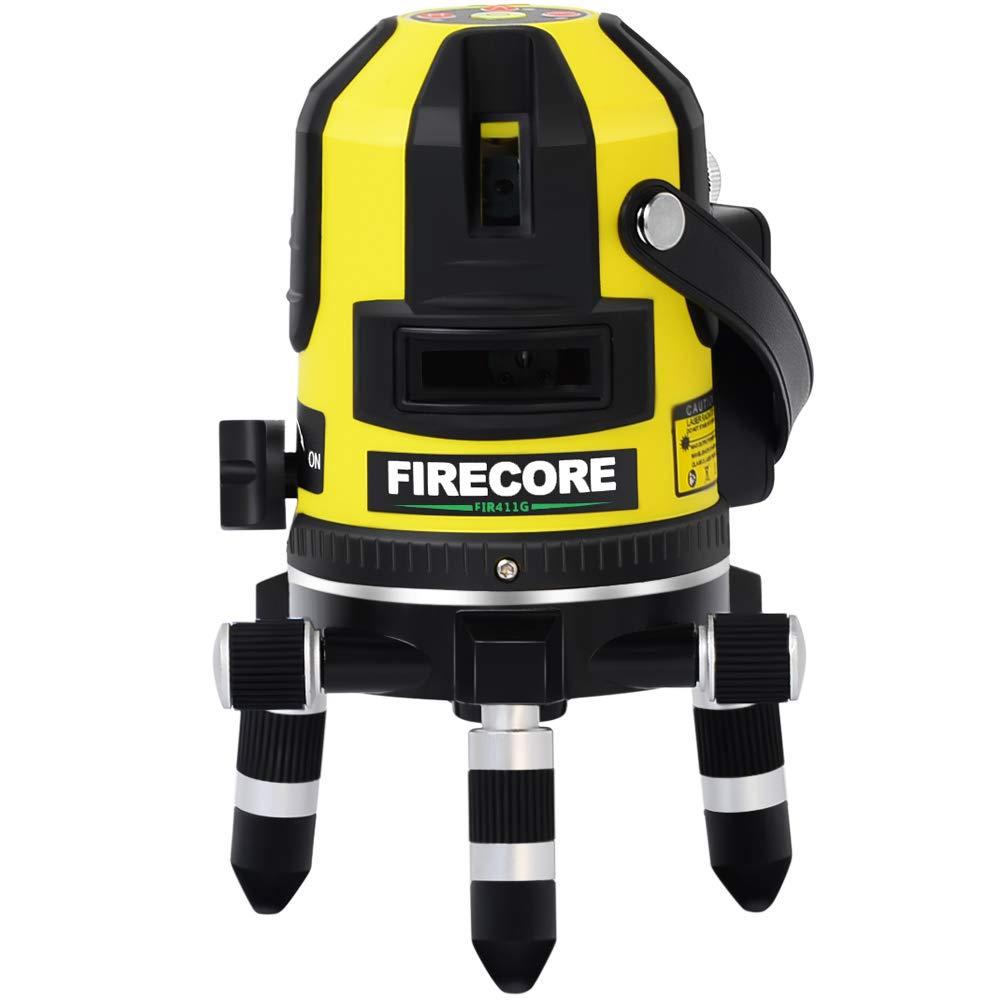 Vert Firecore FIR411G Syst/è me de nivellement automatique 50 m ext/é rieur 5 Ligne Niveau laser et point dAplomb avec d/é tecteur