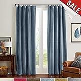 jinchan Half Blackout Velvet Curtains for Bedroom, Thermal Insulated Rod Pocket Curtain Panels (1 Panel, 95 Inch, Dark Slate)