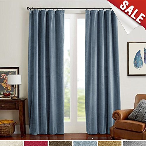 Room Darkening Velvet Curtains, Drapes for Bedroom 84 inch Long Window Curtain Panels, Thermal Insulated Rod Pocket (Single Panel, 84L, Blue)