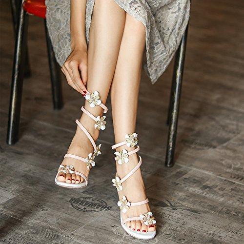 stelle ZHANGYUSEN Femmina 7 sandali Serpant Nero e alta e 5CM fiore Tacchi scarpe stesse le SIqqX5rwx
